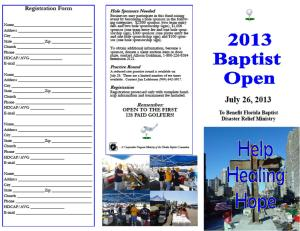 2013 Baptist Open Golf Brochure